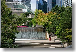 canada, fountains, horizontal, stairs, vancouver, photograph