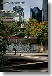 canada, fountains, stairs, vancouver, vertical, photograph