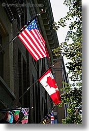 canada, flags, united states, vancouver, vertical, photograph
