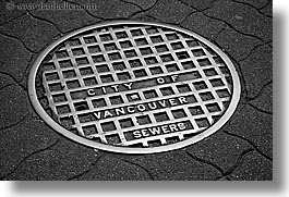 black and white, canada, horizontal, manholes, vancouver, photograph