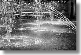 black and white, canada, horizontal, sprinklers, vancouver, water, photograph