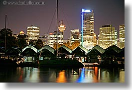 boats, canada, cityscapes, horizontal, long exposure, nite, vancouver, water, photograph