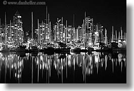 black and white, boats, canada, cityscapes, horizontal, long exposure, nite, reflections, vancouver, water, photograph