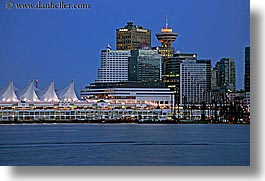 canada, cityscapes, horizontal, nite, ports, slow exposure, vancouver, water, photograph