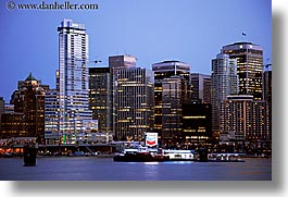 canada, cityscapes, dusk, horizontal, nite, slow exposure, vancouver, water, photograph