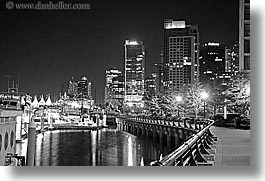 black and white, canada, citscape, cityscapes, horizontal, long exposure, nite, vancouver, photograph
