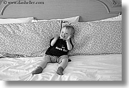 babies, beds, black and white, canada, horizontal, jacks, people, playing, vancouver, photograph