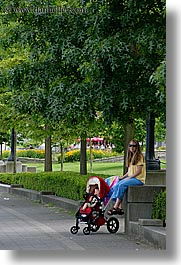 babies, canada, jack and jill, jacks, mothers, paths, people, stroller, trees, vancouver, vertical, photograph