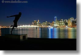 canada, cityscapes, harry, harry winston statue, horizontal, jerome, long exposure, nite, stanley park, statues, vancouver, water, winston, photograph