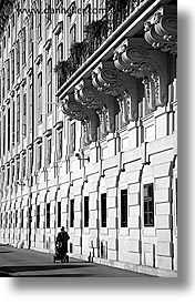 austria, black and white, buildings, europe, old, vertical, vienna, womens, photograph