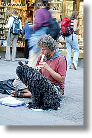 austria, dogs, europe, flutist, people, vertical, vienna, photograph