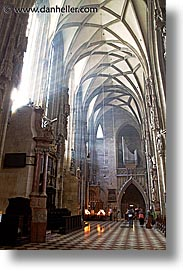 austria, churches, europe, lights, rays, slow exposure, st stephens, vertical, vienna, photograph