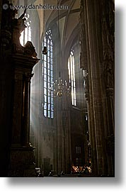 austria, churches, europe, lights, rays, st stephens, vertical, vienna, photograph
