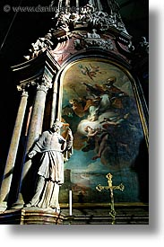 austria, europe, paintings, slow exposure, st stephens, statues, vertical, vienna, photograph