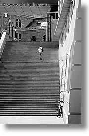 austria, black and white, europe, stairs, streets, vertical, vienna, walkers, photograph