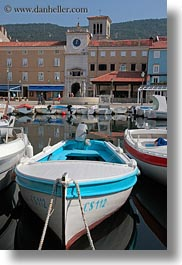 boats, buildings, clock tower, colorful, colors, cres, croatia, europe, harbor, structures, towers, towns, vertical, photograph