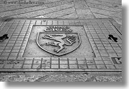 black and white, covers, cres, croatia, europe, horizontal, manholes, photograph