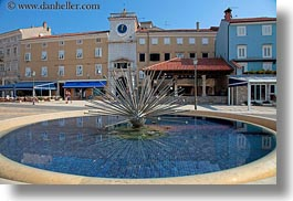 buildings, clock tower, cres, croatia, europe, fountains, horizontal, structures, towers, photograph
