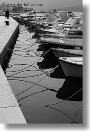 black and white, boats, cres, croatia, europe, moored, vertical, photograph