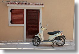 cres, croatia, doors, europe, horizontal, moped, windows, photograph