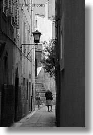 black and white, cres, croatia, europe, narrow, narrow streets, streets, vertical, womens, photograph