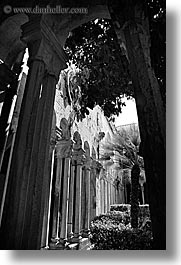 architectures, archways, black and white, cloisters, croatia, dubrovnik, europe, franciscan, monastery, monestaries, vertical, photograph