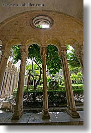 architectures, archways, cloisters, croatia, dubrovnik, europe, franciscan, monastery, monestaries, vertical, photograph