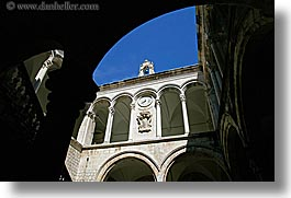 architectures, archways, clocks, cloisters, croatia, dubrovnik, europe, horizontal, palace, rectors, photograph