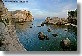 architectures, bokar, croatia, dubrovnik, europe, horizontal, ocean, stones, towers, photograph