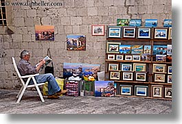 arts, croatia, dubrovnik, europe, horizontal, men, paintings, vendors, photograph