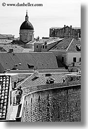 black and white, city wall, croatia, dubrovnik, europe, fortress, rooftops, stones, vertical, walk, walls, photograph