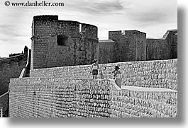 black and white, city wall, croatia, dubrovnik, europe, fortress, horizontal, stones, walk, walls, photograph