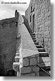 black and white, city wall, croatia, dubrovnik, europe, fortress, stones, vertical, walk, walls, photograph