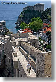 city wall, croatia, dubrovnik, europe, fortress, ocean, rooftops, stones, vertical, walk, walls, photograph