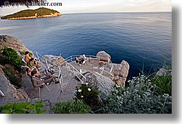 cafes, cliff cafe, cliffs, croatia, dubrovnik, europe, horizontal, islands, ocean, people, photograph