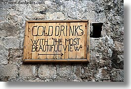 cliff cafe, croatia, dubrovnik, europe, horizontal, signs, stones, views, woods, photograph