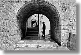 arches, archways, black and white, croatia, doors, doors & windows, dubrovnik, europe, horizontal, silhouettes, photograph