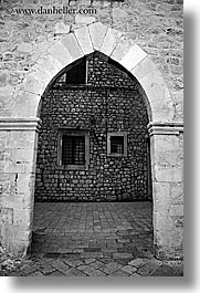 arches, archways, black and white, croatia, doors, doors & windows, dubrovnik, europe, vertical, windows, photograph