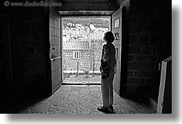 black and white, croatia, doors, doors & windows, dubrovnik, europe, horizontal, silhouettes, photograph