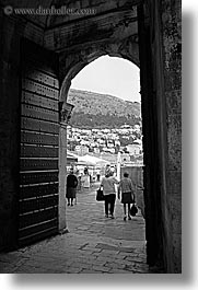 archways, black and white, croatia, doors, doors & windows, dubrovnik, europe, open, vertical, photograph