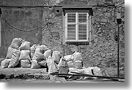 bags, black and white, croatia, doors & windows, dubrovnik, europe, horizontal, windows, photograph