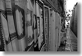 black and white, croatia, croatian, dubrovnik, europe, fabrics, horizontal, textiles, photograph