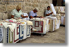 croatia, dubrovnik, europe, fabrics, horizontal, weavers, womens, photograph