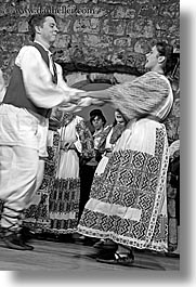 black and white, couples, croatia, dance, dancing, dubrovnik, europe, folk dancing, people, vertical, photograph