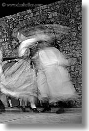 black and white, couples, croatia, dance, dancing, dubrovnik, europe, folk dancing, people, slow exposure, vertical, photograph