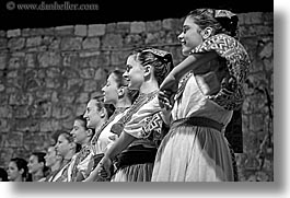 black and white, croatia, dance, dubrovnik, europe, folk dancing, groups, horizontal, womens, photograph