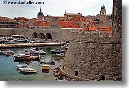 boats, croatia, dubrovnik, europe, harbor, horizontal, rooftops, towns, photograph