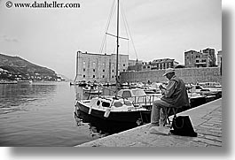 black and white, boats, croatia, dubrovnik, europe, fishing, harbor, horizontal, men, old, photograph