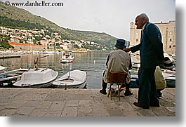 boats, croatia, dubrovnik, europe, harbor, horizontal, men, old, photograph