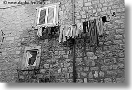 black and white, croatia, dubrovnik, europe, hangings, horizontal, laundry, photograph